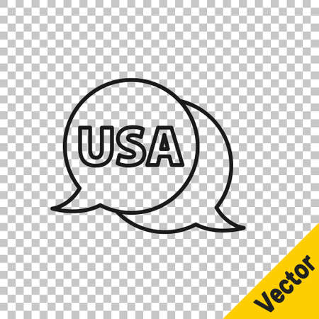 Black line USA label icon isolated on transparent background. United States of America. Vector
