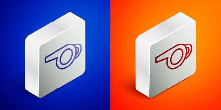 Isometric line Whistle icon isolated on blue and orange background. Referee symbol. Fitness and sport sign. Silver square button. Vector