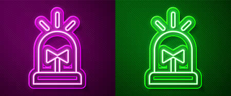 Glowing neon line Flasher siren icon isolated on purple and green background. Emergency flashing siren. Vector 矢量图像