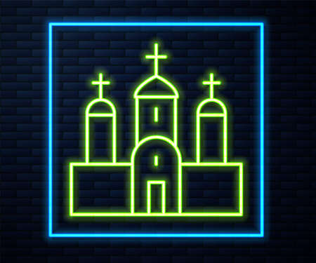 Glowing neon line Church building icon isolated on brick wall background. Christian Church. Religion of church. Vector Çizim