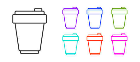 Black line Fitness shaker icon isolated on white background. Sports shaker bottle with lid for water and protein cocktails. Set icons colorful. Vector 版權商用圖片 - 157938866