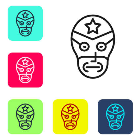 Black line Mexican wrestler icon isolated on white background. Set icons in color square buttons. Vector