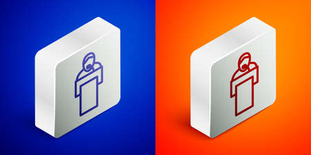 Isometric line Gives lecture icon isolated on blue and orange background. Stand near podium. Speak into microphone. The speaker lectures and gestures. Silver square button. Vector 向量圖像