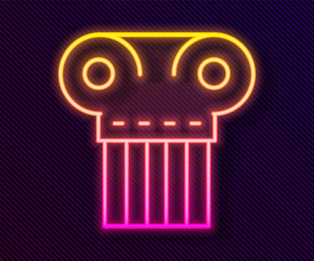 Glowing neon line Ancient column icon isolated on black background. Vector Vettoriali