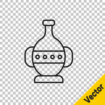 Black line Ancient amphorae icon isolated on transparent background. Vector