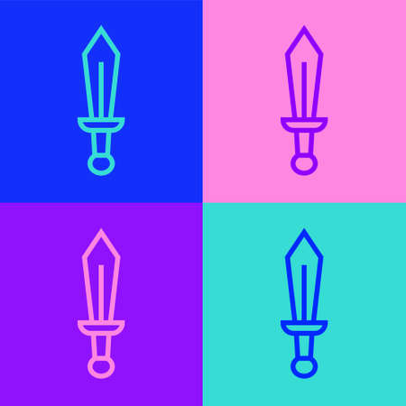 Pop art line Sword toy icon isolated on color background. Vector Vettoriali