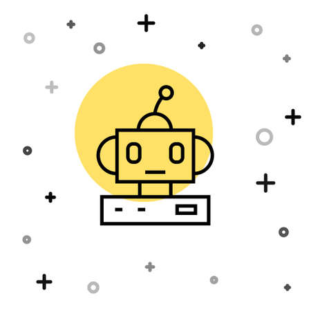 Black line Robot toy icon isolated on white background. Random dynamic shapes. Vector