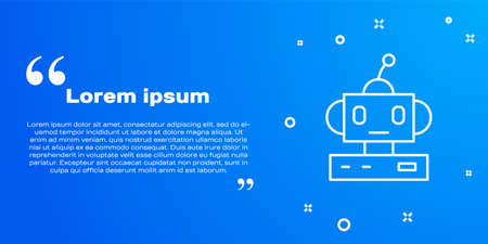 White line Robot toy icon isolated on blue background. Vector