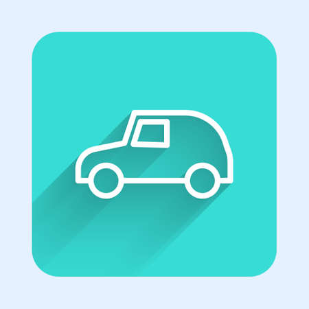 White line Toy car icon isolated with long shadow. Green square button. Vector