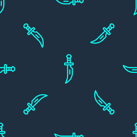 Green line Dagger icon isolated seamless pattern on blue background. Knife icon. Sword with sharp blade. Vector Vettoriali