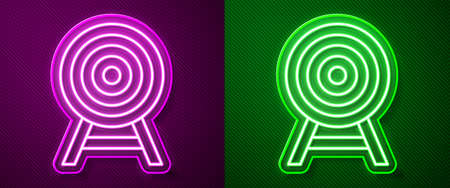 Glowing neon line Target with arrow icon isolated on purple and green background. Dart board sign. Archery board icon. Dartboard sign. Business goal concept. Vector 向量圖像