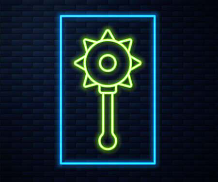 Glowing neon line Medieval chained mace ball icon isolated on brick wall background. Medieval weapon. Vector Ilustrace