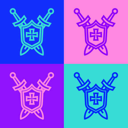 Pop art line Medieval shield with crossed swords icon isolated on color background. Vector Vettoriali