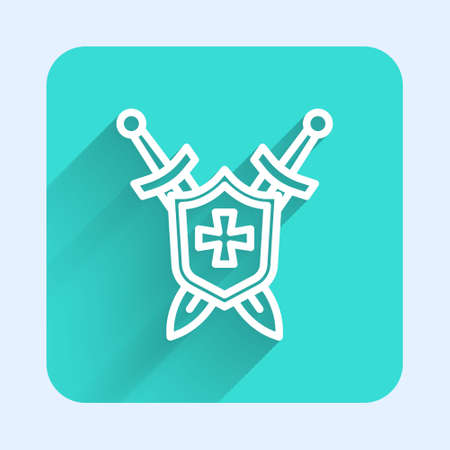 White line Medieval shield with crossed swords icon isolated with long shadow. Green square button. Vector