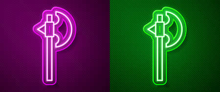 Glowing neon line Medieval axe icon isolated on purple and green background. Battle axe, executioner axe. Medieval weapon. Vector