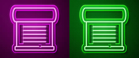 Glowing neon line Decree, paper, parchment, scroll icon icon isolated on purple and green background. Vector Ilustrace