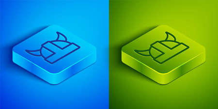 Isometric line Viking in horned helmet icon isolated on blue and green background. Square button. Vector
