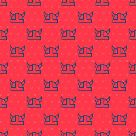 Blue line Viking in horned helmet icon isolated seamless pattern on red background. Vector