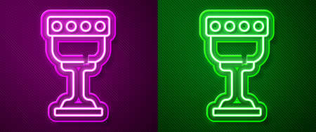 Glowing neon line Medieval goblet icon isolated on purple and green background. Holy grail. Vector