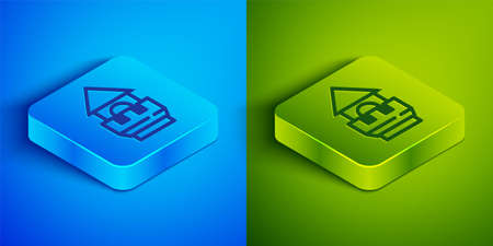 Isometric line Castle tower icon isolated on blue and green background. Fortress sign. Square button. Vector