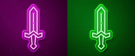 Glowing neon line Medieval sword icon isolated on purple and green background. Medieval weapon. Vector