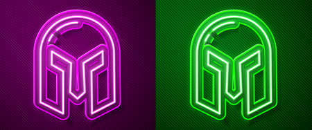 Glowing neon line Medieval iron helmet for head protection icon isolated on purple and green background. Vector