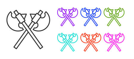 Black line Crossed medieval axes icon isolated on white background. Battle axe, executioner axe. Medieval weapon. Set icons colorful. Vector Ilustrace