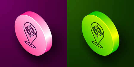 Isometric line Target sport icon isolated on purple and green background. Clean target with numbers for shooting range or shooting. Circle button. Vector