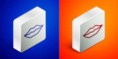 Isometric line Smiling lips icon isolated on blue and orange background. Smile symbol. Silver square button. Vector 向量圖像