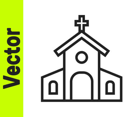 Black line Church building icon isolated on white background. Christian Church. Religion of church. Vector