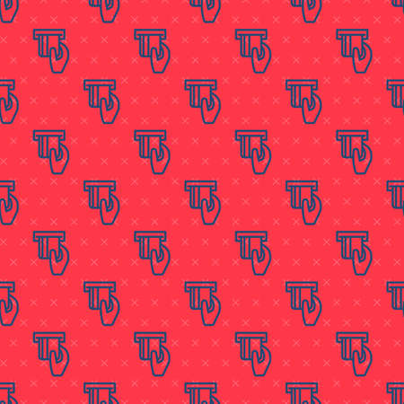 Blue line Credit card inserted in card reader icon isolated seamless pattern on red background. ATM cash machine. Vector 向量圖像