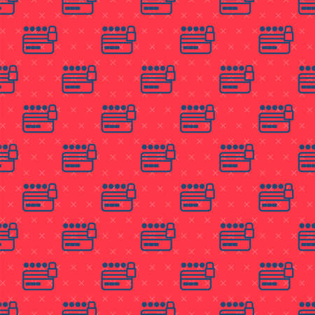 Blue line Credit card with lock icon isolated seamless pattern on red background. Locked bank card. Security, safety, protection. Concept of a safe payment. Vector 版權商用圖片 - 157938739