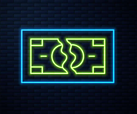 Glowing neon line Tearing apart money banknote into two peaces icon isolated on brick wall background. Vector