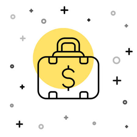 Black line Briefcase and money icon isolated on white background. Business case sign. Business portfolio. Random dynamic shapes. Vector 矢量图像