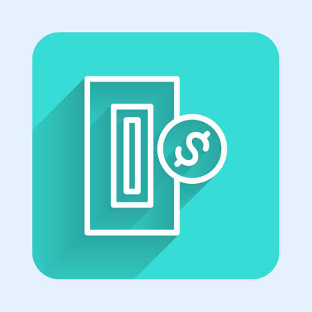White line Hand inserting coin to a slot on a vending machine or arcade machine icon isolated with long shadow. Green square button. Vector