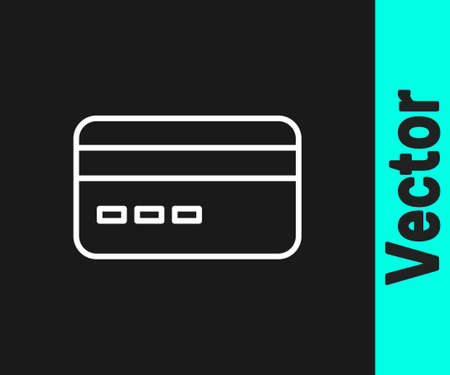 White line Credit card icon isolated on black background. Online payment. Cash withdrawal. Financial operations. Shopping sign. Vector