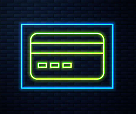 Glowing neon line Credit card icon isolated on brick wall background. Online payment. Cash withdrawal. Financial operations. Shopping sign. Vector 向量圖像