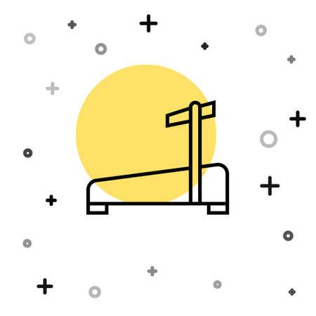 Black line Treadmill machine icon isolated on white background. Random dynamic shapes. Vector 矢量图像