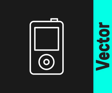White line Music player icon isolated on black background. Portable music device. Vector