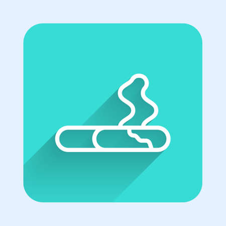 White line Cigarette icon isolated with long shadow. Tobacco sign. Smoking symbol. Green square button. Vector