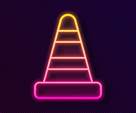 Glowing neon line Traffic cone icon isolated on black background. Vector