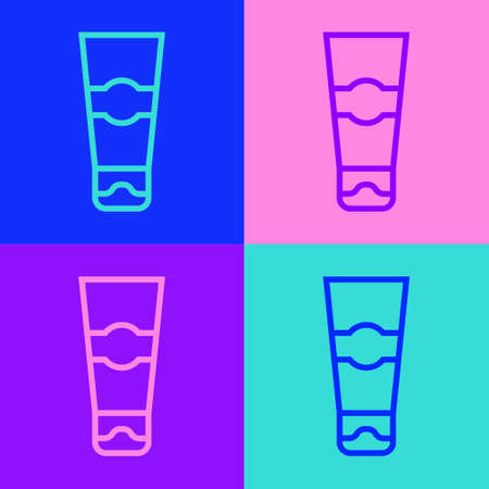Pop art line Tube of toothpaste icon isolated on color background. Vector