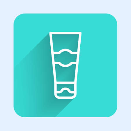 White line Tube of toothpaste icon isolated with long shadow. Green square button. Vector