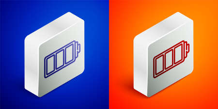 Isometric line Battery charge level indicator icon isolated on blue and orange background. Silver square button. Vector Illusztráció