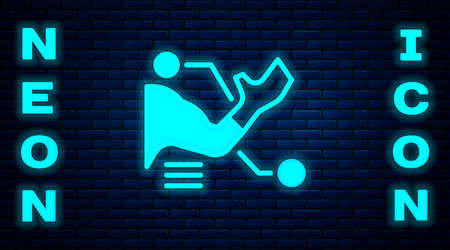 Glowing neon Prosthesis hand icon isolated on brick wall background. Futuristic concept of bionic arm, robotic mechanical hand. Vector Çizim