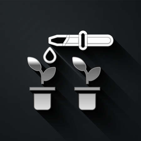 Silver Drop of water drops from pipette on plant icon isolated on black background. Medical or agricultural experiments. Fertilizers and pesticides. Long shadow style. Vector Ilustración de vector