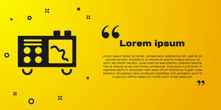Black Spectrometer icon isolated on yellow background. Vector Çizim