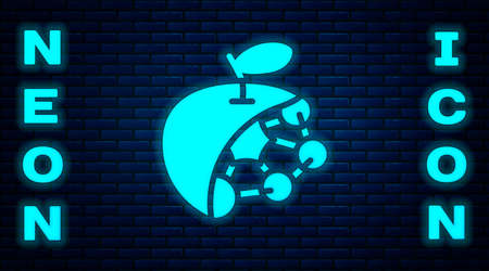 Glowing neon Biological structure icon isolated on brick wall background. Genetically modified organism and food. Vector