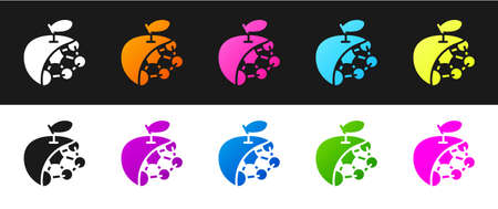 Set Biological structure icon isolated on black and white background. Genetically modified organism and food. Vector