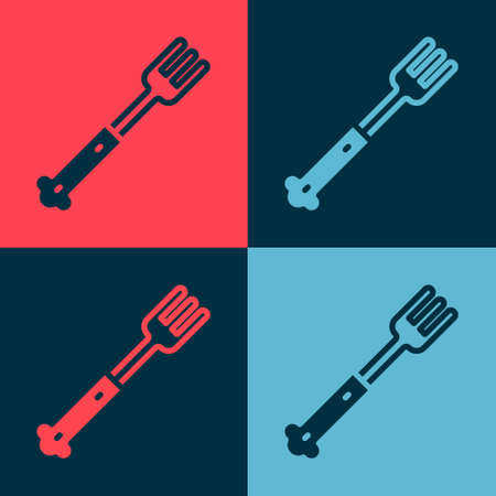 Pop art Fork icon isolated on color background. Cutlery symbol. Vector